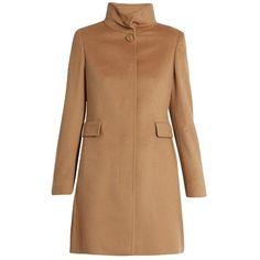 Max Mara Studio Agnese coat ($875) ❤ liked on Polyvore featuring outerwear, coats, coats & jackets, camel, slim fit wool coat, maxmara coat, funnel-neck coats, funnel neck wool coat and camel coat