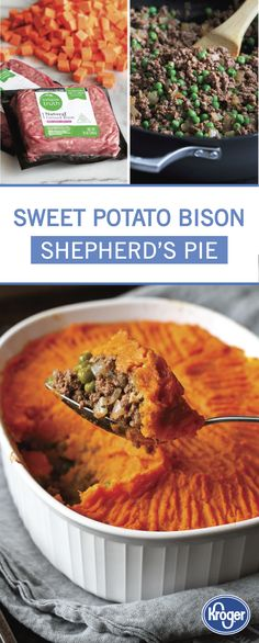 This recipe for Sweet Potato Bison Shepherds Pie is a unique way to enjoy some of your favorite fall flavors. Start by combining onion ground bison tomato paste garlic thyme rosemary and peas. Then top with a mixture of sweet potatoes salt peppe Fall Recipes, Beef Recipes, Great Recipes, Cooking Recipes, Favorite Recipes, Healthy Recipes, Ground Bison Recipes Healthy, I Love Food, Good Food