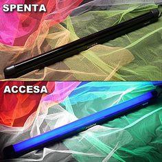 Tubo luce UV LED 18 W lungo 60 cm. Illumina tutti i cosmetici, make up, accessori e materiali reagenti ai raggi UV in un raggio di circa 3-4 metri.