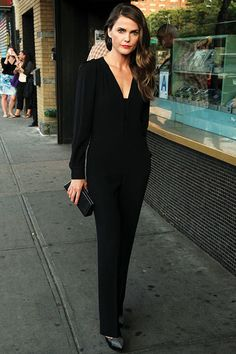Keri Russell dressed in all black for the New York screening of Austenland at Landmark Sunshine Cinema presented by The Cinema Society and Alice + Olivia on August 12th. The star kept the look simple, yet contemporary in a jumpsuit that she styled with studded cap-toe platform pumps, a black clutch, and a hot pink manicure.