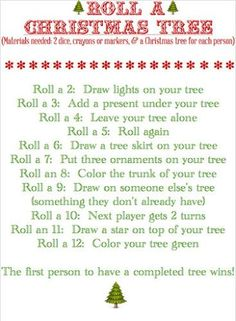 Roll A Christmas Tree Game Printable Blissful Roots