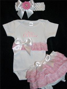 Presonalized Baby Girl Onesie Diaper Cover & by hancocksembroidery, $39.95