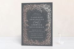 """Folio"" - Rustic Foil-pressed Wedding Invitations in Midnight by Kristie Kern."