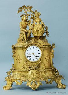 Reloj Frances en bronce dorado pareja romantica finales S XIX 750 €