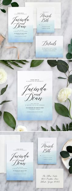 Romantic modern wedding invitations by Fine Day Press #beachwedding #weddinginvitations #weddinginspiration