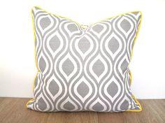 Gray throw pillow cover 18x18, geometric cushion case yellow and gray decor, grey trellis pillow cover dorm room decor