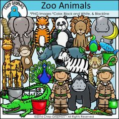 """This zoo clip art set is packed with an adorable crew of animals for your projects!  There are 68 images in total:  22 black and white, 22 blackline (black lines with transparent center) and 24 color versions.  The set includes the following:Animals-crocodileelephant giraffe gorillahippoleopardlionmonkey panda bearparrotpeacockrhinocerossnaketigerzebraAnimal """"food"""" and other accessories-bananafishpeanutfeeding bucket (red, green, silver)fence (place the animals behind or in front of the…"""