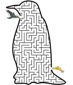 Penguin shaped maze from PrintActivities.com