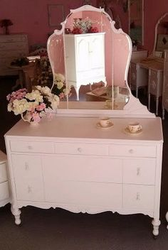 Antique French Provincial Vanity Dresser with Mirror on Etsy, $799.00