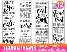 "1 CORINTHIANS - 4 Bible journaling printable templates, instant download illustrated christian faith bookmarks, black and white prayer journal bible verse traceable stencils, bible stickers. ♥ 1 Corinthians 2:9 ""What no eye has seen, what no ear has heard, and what no human mind"