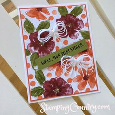 I woke up this morning with the Penned & Painted stamp set calling to me. Karen Barber, Lou Holtz, Cherry Cobbler, Flower Backgrounds, Pretty Cards, Flower Cards, Your Cards, Tea Party, Stampin Up