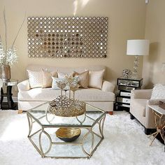 Rose gold, living room decor gold, chic living room, gold home decor, Glam Living Room, Cozy Living Rooms, Formal Living Rooms, Cream And Gold Living Room, Living Room Decor Gold, Sitting Room Decor, Gold Home Decor, Sitting Rooms, Home Goods Decor