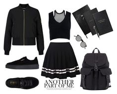 """blackaf"" by moumantai13 ❤ liked on Polyvore featuring Miss Selfridge, Dsquared2, Sans Souci, Puma, Herschel, Sloane Stationery, Smythson, Faber-Castell and Le Specs"