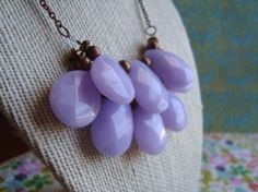Lavender Jade Briolette Statement Necklace by girlsewcute on Etsy, $45.00