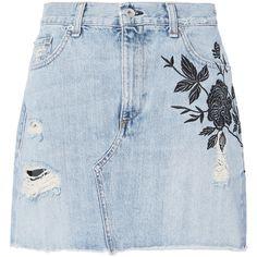 Ramona Embroidered Denim Mini Skirt ($239) ❤ liked on Polyvore featuring skirts, mini skirts, blue skirts and intermix skirt