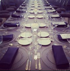 Tablescape from a recent reception we #catered. #camelotnavyblue #fanfaresilver #charcoalsuede #catering #eventplanning
