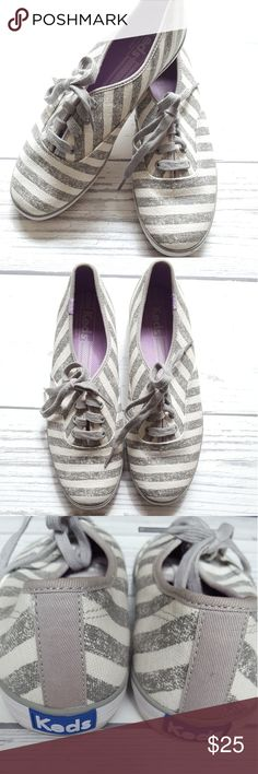 Keds Gray and White Striped Like new canvas Keds Keds Shoes Sneakers