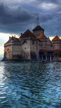 The Château de Chillon (Chillon Castle) is an island castle located on the shore of Lake Geneva in the commune of Veytaux, at the eastern end of the lake, 3 km from Montreux, Switzerland. The castle consists of 100 independent buildings that were gradually connected to become the building as it stands now.