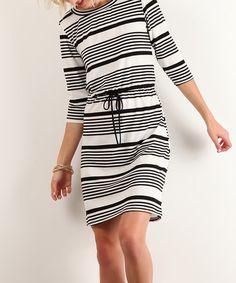 Another great find on #zulily! J-Mode USA Los Angeles Black Stripe Blouson Dress by J-Mode USA Los Angeles #zulilyfinds