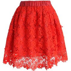 Chicwish Glittering Flower Crochet Skirt in Red ($30) ❤ liked on Polyvore featuring skirts, bottoms, saias, faldas, gonne, red, red skirt, red ruffle skirt, glitter skirt and red knee length skirt