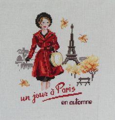 broderie point de croix  un jour è Paris an automne