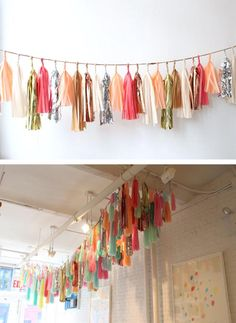 Tassels of paper or frabric