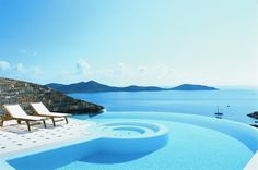Elounda Gulf Villas and Suites, Greece. This award-winning luxury villa in Crete, Greece offers a variety of spa pools for a secluded vacationing experience.