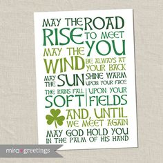 Irish Blessing Digital Art - May the road rise to meet you - digital printable file - instant download on Etsy, $6.00