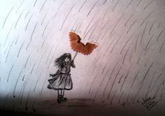 Girl in rain sketch