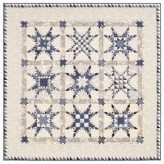 Star of Chamblie Sampler by Marsha McCloskey in blue and white. Pattern available: http://www.marshamccloskey.com/stofchsaqupa.html