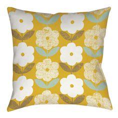 Jar of Sunshine Vintage Blossoms Printed Throw Pillow