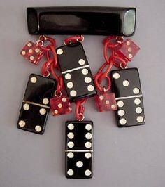 Shultz bakelite red dice & black dominoes brooch