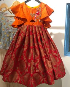 A rough click of a banarsi gown Girls Frock Design, Kids Frocks Design, Baby Frocks Designs, Baby Dress Design, Long Frocks For Kids, Frocks For Girls, Kids Dress Wear, Kids Gown, Baby Girl Party Dresses