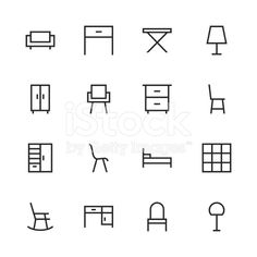 Furniture Icon Line Series Vector EPS File.