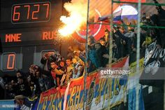 04-12 Russian supporters light a flare during the Euro 2016... #podgorica: 04-12 Russian supporters light a flare during the… #podgorica