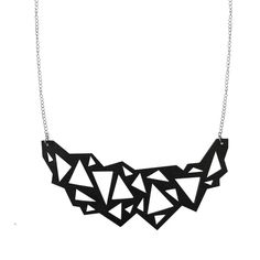 Crystal necklace, 35 €.  Geometric statement necklace by Nouseva Myrsky! #geometric #minimalist