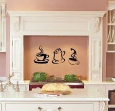 Steaming Hot Coffee kitchen wall decal vinyl...