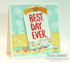 Stampin Up! 4x4 Best Day Ever card - new Sale a Bration paper FREE with your order starting Jan 6, 2015. by Patty Bennett #stampinup #saleabration