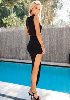 Black Drape Up Keyhole Dress   Lookbook Store Dress