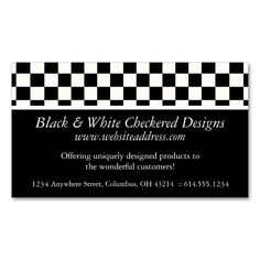 Business Card :: Black and White Checkered Design. I love this design! It is available for customization or ready to buy as is. All you need is to add your business info to this template then place the order. It will ship within 24 hours. Just click the image to make your own!