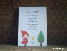 Snoeflingor - Rotkäppchen Geburtstagskarte Cover, Paper, Paper Mill, Cordial, Invitation Cards, Invitations, Packaging, Birth, Handarbeit