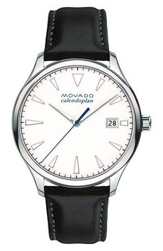 Movado Men's Men's Heritage Series Calendoplan Black Leather Watch - White - One Size Black Leather Watch, Leather Men, Brown Leather, Fine Watches, Watches For Men, Wrist Watches, Swiss Watch Brands, Casual Watches, Stainless Steel Case
