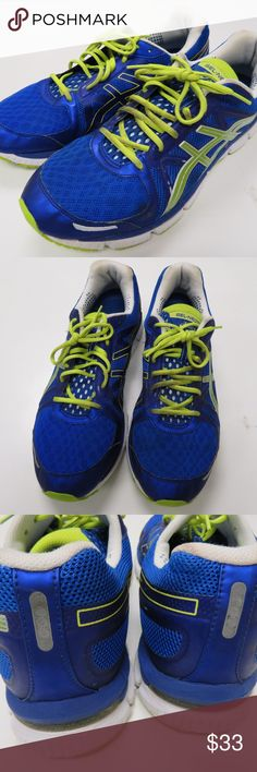 Asics GEL-NEO33 Bright Blue / Lime Running Shoes Asics men's sneakers size 14.  They are model number T222N.  Great shoes!  I ship fast and package securely for safe delivery!  Synthetic and Mesh  Rubber sole  Impact Guidance System (I.G.S.) - ASICS design philosophy that employs linked componentry to enhance the foot's natural gait from heel strike to toe-off.  ort System - A dual density midsole system positioned to enhance support and stability, positioned sport specifically.  Rearfoot…