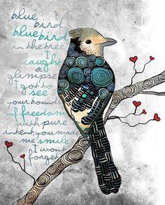 I love zentangle and birds Kunstjournal Inspiration, Art Journal Inspiration, Journal Ideas, Art Journal Pages, Art Journals, Art And Illustration, Jay Azul, Art Altéré, Blue Bird Art