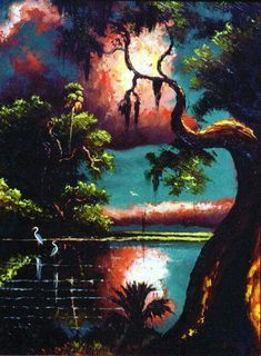 The Florida Highwaymen painting by Willie Daniels of the Florida landscape at sunset