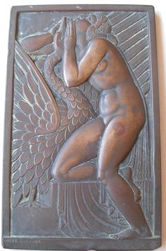 """ANDRE LAVRILLIER ART DECO BRONZE MEDAL """" LEDA AND THE SWAN """""""