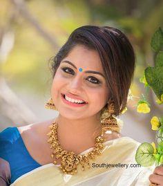 Meera Nandan in Temple Jewellery