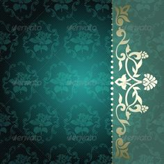 Buy Floral Arabesque Background in Green and Gold by KarolinaL on GraphicRiver. Elegant deep green arabesque background with floral metallic ornaments. Graphics are grouped and in several layers fo. Floral Illustrations, Illustrations And Posters, Rococo, Christmas Letterhead, Teal Image, Wedding Invitation Background, Golden Background, Bug Art, Gold Stock