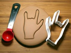 Sign of the horns Hand Cookie Cutter Made to order by CookieParlor Horns, Cookie Cutters, Madness, Gothic, Artisan, Decor Ideas, Sign, Cookies, Crack Crackers