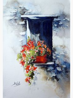 Buy 'Tuscany Window' by Bev Wells as a Greeting Card. Watercolor painted on Arches 140 not Artists Quality watercolor paints Last year I went on a painting holiday ! the subject is not in my comfort zone- So I have painted this from a pho. Watercolor Pictures, Watercolor And Ink, Watercolour Painting, Watercolor Flowers, Painting & Drawing, Watercolors, Beach Watercolor, Art Floral, Floral Artwork